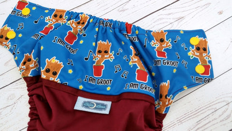Tree Man (burgundy pul, butter awj, marigold snaps) <br>Wrap Around, One Size Pocket Diaper<br>Instock and Ready to Ship