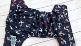 Silver Anchors (red awj, two toned snaps; red caps, silver pieces) <br>Traditional, One Size Pocket Diaper<br>Instock and Ready to Ship