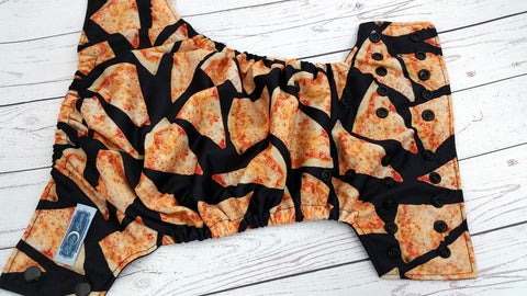 Pizza Bum (black awj & snaps) <br>Traditional, One Size Pocket Diaper<br>Instock and Ready to Ship