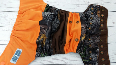 Forest Floor (brown awj, two toned snaps; orange caps, brown pieces)<br>Boutique Scrappy, One Size Pocket Diaper<br>Instock and Ready to Ship