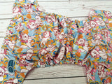 Pretty Marie Kitty (light pink awj, two toned snaps; white caps, light pink pieces) <br>Traditional, One Size Pocket Diaper<br>Instock and Ready to Ship