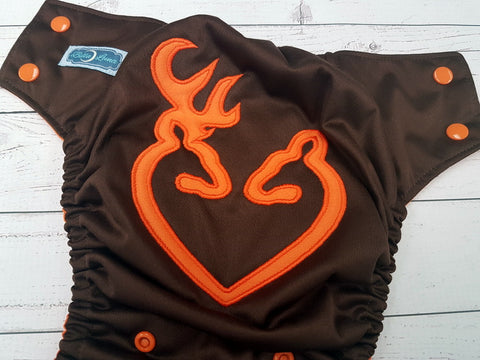 Orange Deer Heart (brown pul, orange awj & snaps) <br>Embroidered, One Size Pocket Diaper<br>Instock and Ready to Ship