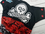 *2OAK* Embroidered Red Rose Jolly Roger (red awj, two toned snaps; red caps, black pieces) <br>PK Wrapped Crazy Scrappy, One Size Pocket Diaper<br>Instock and Ready to Ship