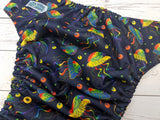 Primary Rainbow Jellies (citron awj, two toned snaps; navy caps, marigold pieces) <br>Traditional, One Size Pocket Diaper<br>Instock and Ready to Ship