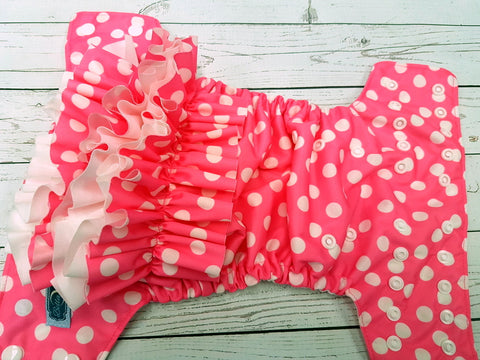Neon Pink Polka Dots WITH Coordinating Ruffles (white awj & snaps) <br>Traditional, One Size Pocket Diaper<br>Instock and Ready to Ship