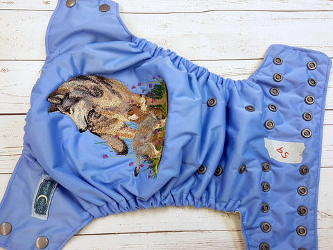 Med Blue Wolf (59) <br>One Size Pocket Diaper<br>Instock and Ready to Ship
