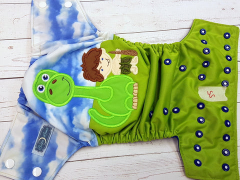 Caveman and Dino Half & Half (55) <br>One Size Pocket Diaper<br>Instock and Ready to Ship