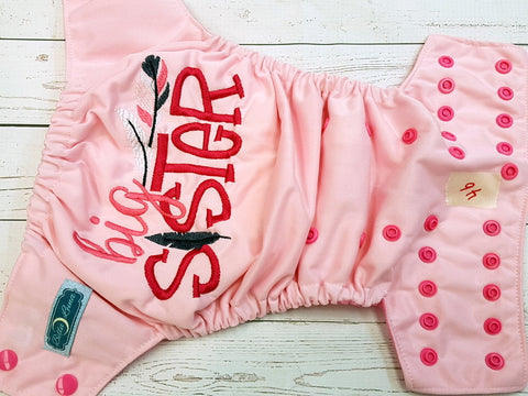 Pink Big Sister (46) <br>One Size Pocket Diaper<br>Instock and Ready to Ship