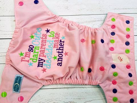 Pink I'm So Cute (40) <br>One Size Pocket Diaper<br>Instock and Ready to Ship