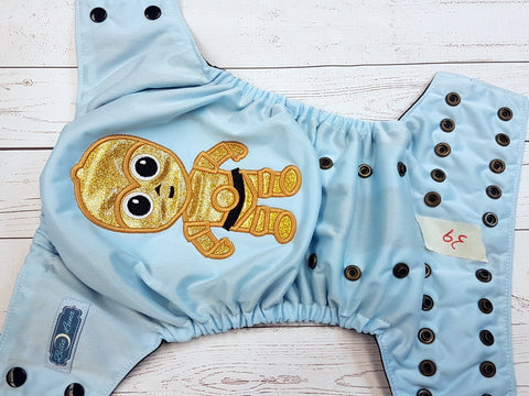 Sparkly Gold Robot (39) <br>One Size Pocket Diaper<br>Instock and Ready to Ship
