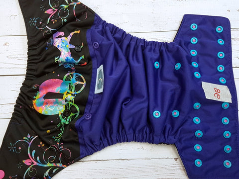 Watercolor Carriage (28) <br>One Size Pocket Diaper<br>Instock and Ready to Ship