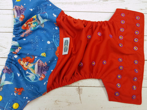 Seaside Beauty (red pul, violet awj, two toned snaps; marigold caps, violet pieces) <br>Wrap Around, One Size Pocket Diaper<br>Instock and Ready to Ship