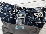 R2Poo2 (gray pul, navy awj & snaps) <br>Wrap Around, One Size Pocket Diaper<br>Instock and Ready to Ship
