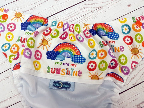 You are my Sunshine (white pul, aqua awj, two toned snaps; orange caps, white pieces)<br>BLACK FRIDAY DTP<br>Wrap Around, One Size Pocket Diaper<br>Instock and Ready to Ship