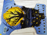 Spooky Tree (black awj, two toned snaps; marigold caps, black pieces) <br>Traditional, One Size Pocket Diaper<br>Instock and Ready to Ship