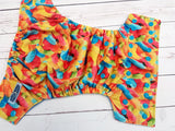 Sour Gummy Worms (aqua awj & snaps) <br>Traditional, One Size Pocket Diaper<br>Instock and Ready to Ship