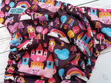Plum Princess Kindgom (magenta awj, hot pink snaps) <br>Traditional, One Size Pocket Diaper<br>Instock and Ready to Ship