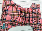Pink Plaid (brown awj & snaps) <br>Traditional, One Size Pocket Diaper<br>Instock and Ready to Ship