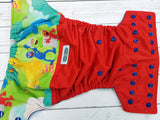 S. Street Crew (red pul, royal awj & snaps) <br>Wrap Around, One Size Pocket Diaper<br>Instock and Ready to Ship