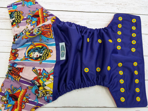 Wonderous Woman (imperial oul, red awj, two toned snaps; aqua caps, marigold pieces) <br>Wrap Around, One Size Pocket Diaper<br>Instock and Ready to Ship