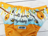 Love my Baby Bee (marigold pul, light blue awj & snaps) <br>Wrap Around, One Size Pocket Diaper<br>Instock and Ready to Ship