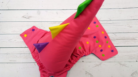 Neon Pink Dino Tail ( Neon Pink pul, violet awj, apple green, violet, marigold alternating snaps) <br>One Size Pocket Diaper<br>Instock and Ready to Ship