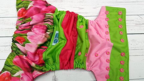 Tulip Garden ( magenta awj, two toned snaps; apple green caps, hot pink pieces) <br>Boutique Scrappy, One Size Pocket Diaper<br>Instock and Ready to Ship