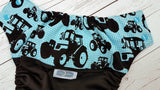 Tractor Blues ( black pul, aqua awj & snaps) <br>Wrap Around, One Size Pocket Diaper<br>Instock and Ready to Ship