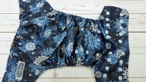 Winter Snow Flakes (light blue awj & snaps) <br>Traditional, One Size Pocket Diaper<br>Instock and Ready to Ship