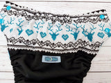 Reindeer Sweater (black outer, aqua awj & snaps) <br>Wrap Around, One Size Pocket Diaper<br>Instock and Ready to Ship