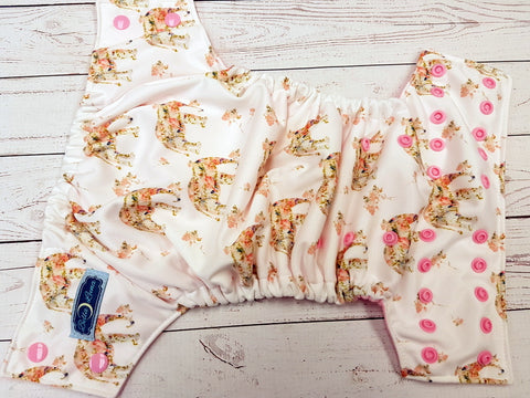 Pretty Floral Elephants (light pink awj & snaps) <br>Performance Knit Traditional, One Size Pocket Diaper<br>Instock and Ready to Ship