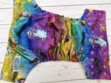 Princess Marionettes (Elsa centered, citron awj, two toned snaps; marigold caps, violet pieces) <br>Traditional, One Size Pocket Diaper<br>Instock and Ready to Ship