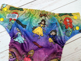 Princess Marionettes (Belle centered, citron awj, two toned snaps; marigold caps, violet pieces) <br>Traditional, One Size Pocket Diaper<br>Instock and Ready to Ship