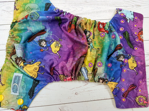 Princess Marionettes (Snow White centered, citron awj, two toned snaps; marigold caps, violet pieces) <br>Traditional, One Size Pocket Diaper<br>Instock and Ready to Ship