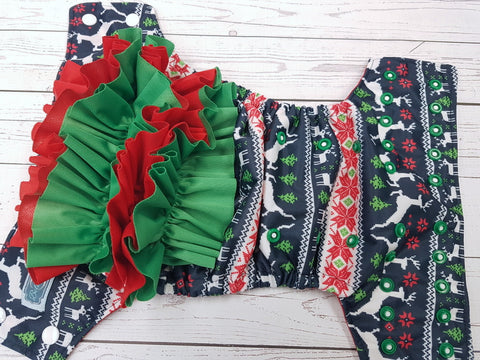 Ugly Christmas Sweater WITH Coordinating Ruffle (placement as shown, red awj, two toned snaps; white caps, kelly pieces) <br>Traditional, One Size Pocket Diaper<br>Instock and Ready to Ship