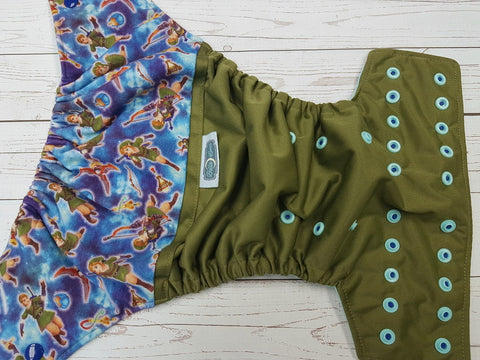 Link in Space (olive pul, seaspray awj, two toned snaps; royal caps, seaspray pieces) <br>Wrap Around, One Size Pocket Diaper<br>Instock and Ready to Ship