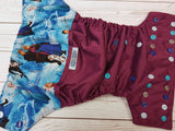 Winter Crew (plum pul royal awj, aqua, light blue, royal, silver alternating snaps) <br>Wrap Around, One Size Pocket Diaper<br>Instock and Ready to Ship