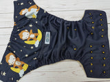 Moon Monkey (navy pul, citron awj, two toned snaps; marigold caps, navy pieces) <br>Wrap Around, One Size Pocket Diaper<br>Instock and Ready to Ship