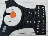 Penguin Face (black pul, black awj, two toned snaps; black caps, white pieces) <br>Embroidered, One Size Pocket Diaper<br>Instock and Ready to Ship