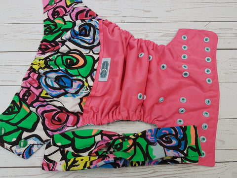 Dramatic Roses WITH Coordinating Knotted Headband (neon pink puil, light blue awj, two toned snaps; kelly caps, light blue pieces) <br>Wrap Around, One Size Pocket Diaper<br>Instock and Ready to Ship