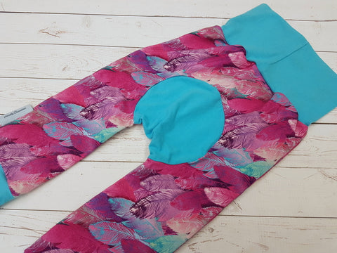 Feathers (aqua accent) <br>Bella Bum Pants<br>Instock and Ready to Ship