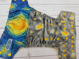 Moonlit Sky PK Wrap (citron awj, marigold snaps) <br>ONE OF A KIND<br>One Size Pocket Diaper<br>Instock and Ready to Ship