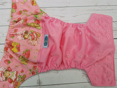 Vintage Strawberry (raspberry pul, light pink awj & snaps) <br>Wrap Around, One Size Pocket Diaper<br>Instock and Ready to Ship