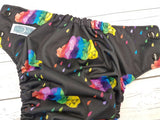 Primary Rain (black awj & snaps) <br>Traditional, One Size Pocket Diaper<br>Instock and Ready to Ship