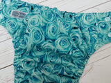Jade Roses (seaspray awj & snaps) <br>Traditional, One Size Pocket Diaper<br>Instock and Ready to Ship