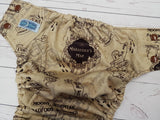 Marauder's (brown awj & snaps) <br>Traditional, One Size Pocket Diaper<br>Instock and Ready to Ship