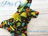 Green Dragons Traditional WITH Coordinating DINO TAIL<br>*PRE ORDER*<br>One Size Cloth Pocket Diaper