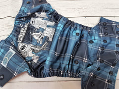 COVER- Lumberjack Doodle Scene<br>Exclusive Traditional, One Size Diaper<br>Instock and Ready to Ship