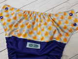 Pokey Balls (imperial outer, seaspray inner, two toned snaps; imperial caps, marigold pieces) <br>Wrap Around, One Size Pocket Diaper<br>Instock and Ready to Ship