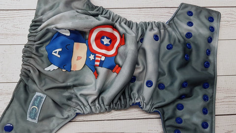 American Hero Exclusive (royal awj & snaps) <br>Performance Knit Traditional, One Size Pocket Diaper<br>Instock and Ready to Ship